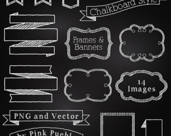Chalkboard Frames and Banners Clipart Clip Art, Chalkboard Clipart.