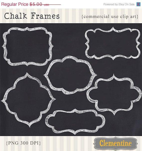 Digital chalk frames, hand drawn chalk frames scrapbook clip.