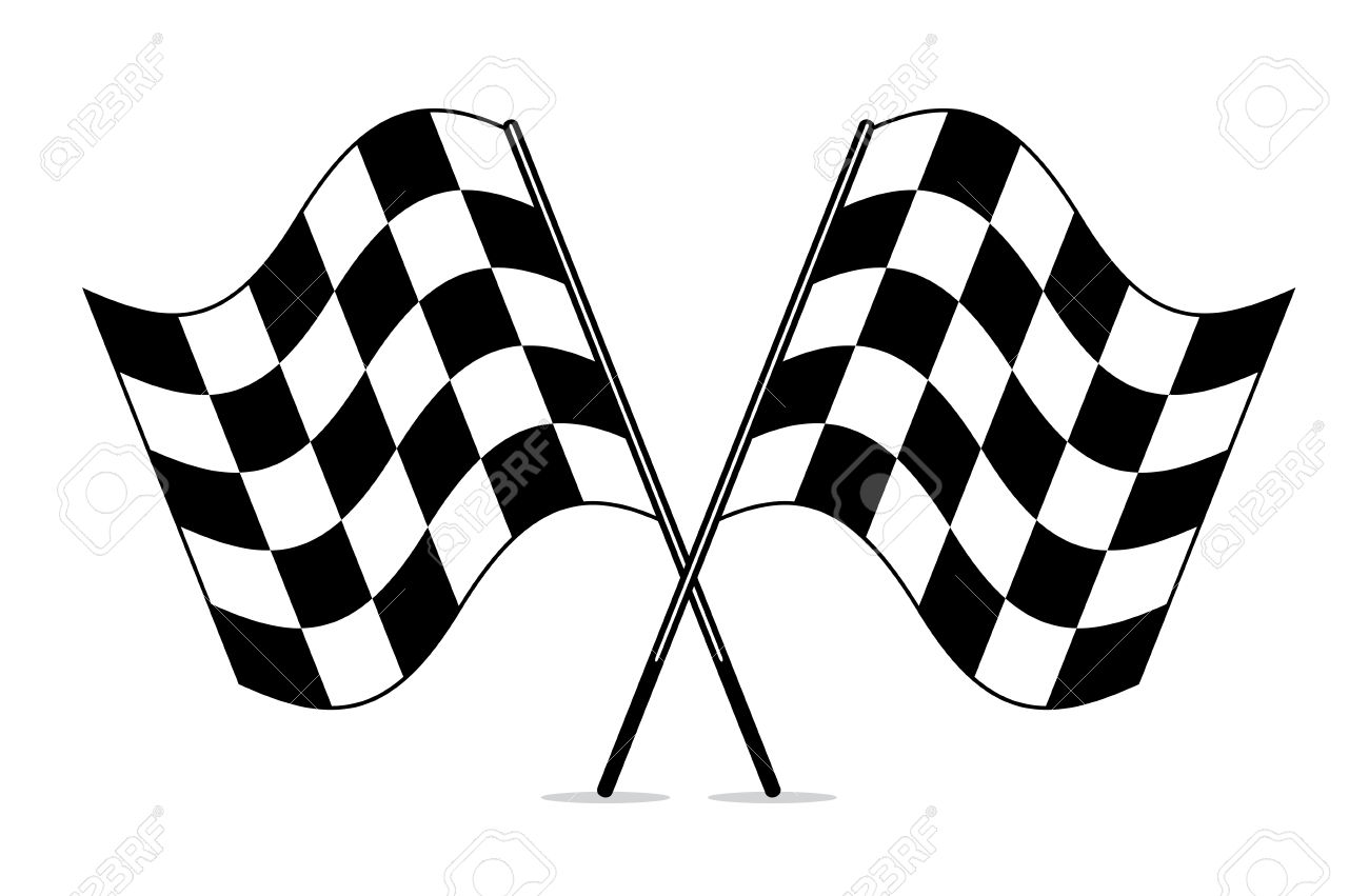 Vector Black And White Crossed Racing Checkered Flags Clipart.
