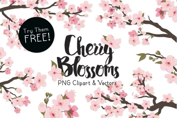 Free Cherry Blossom Clipart Vectors by Mandy.
