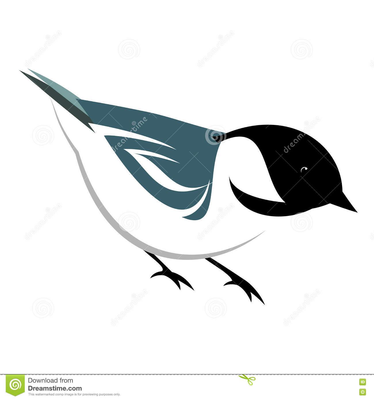 Stylized Chickadee Illustration Stock Vector.