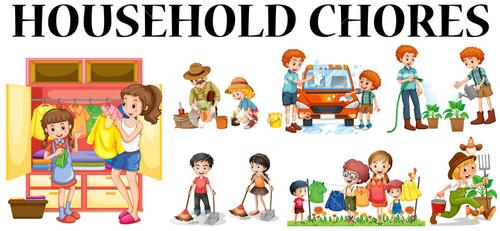 Kids Chores Clipart.