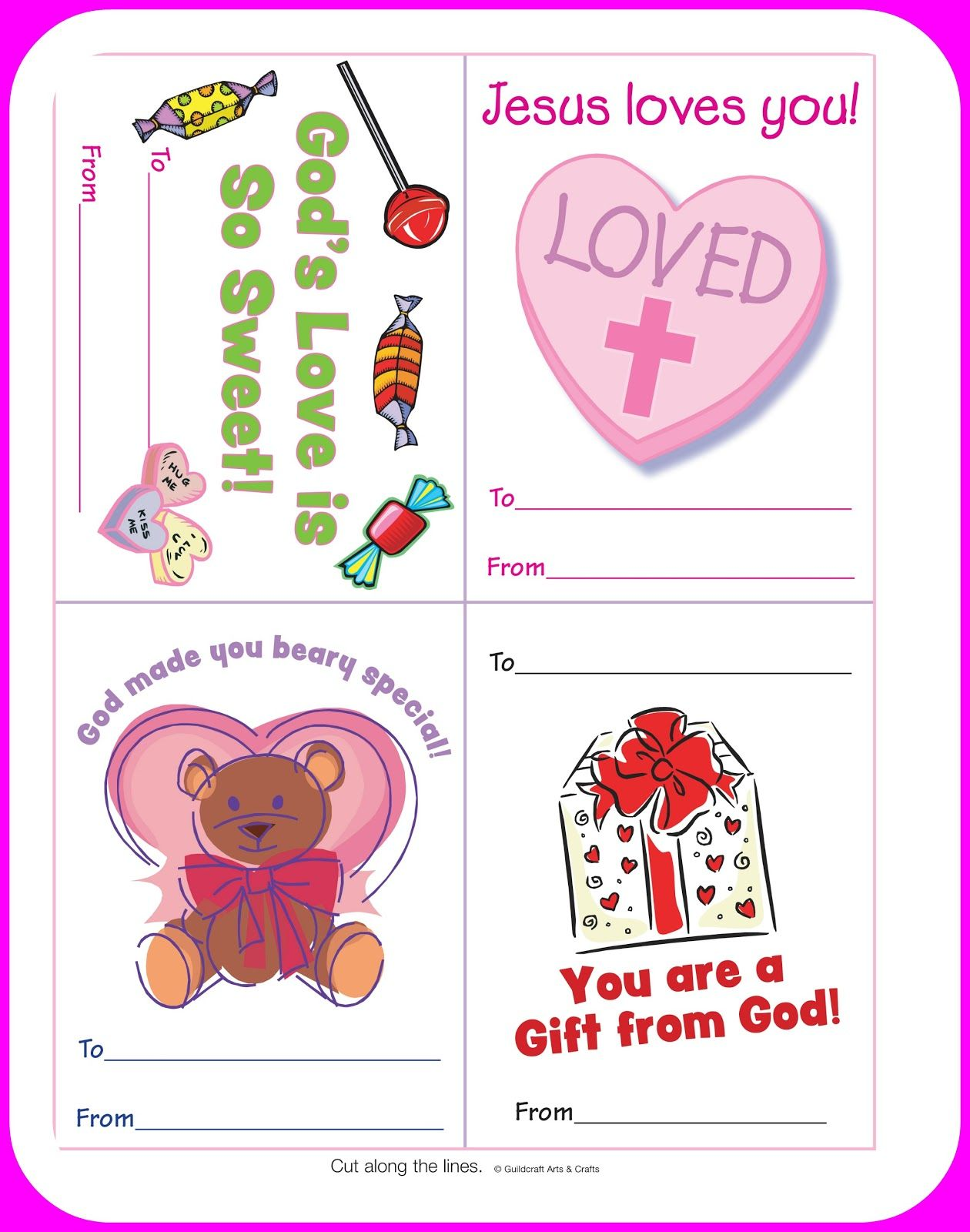Free Christian Valentine's Printables for kids. Courtesy of Craft.