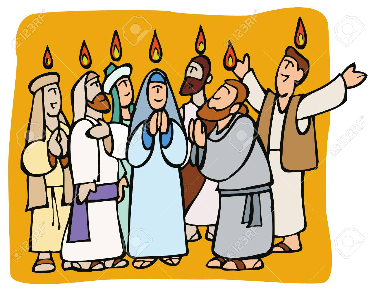 Pentecost. Apostles and Mary praying in tongues and fire above...