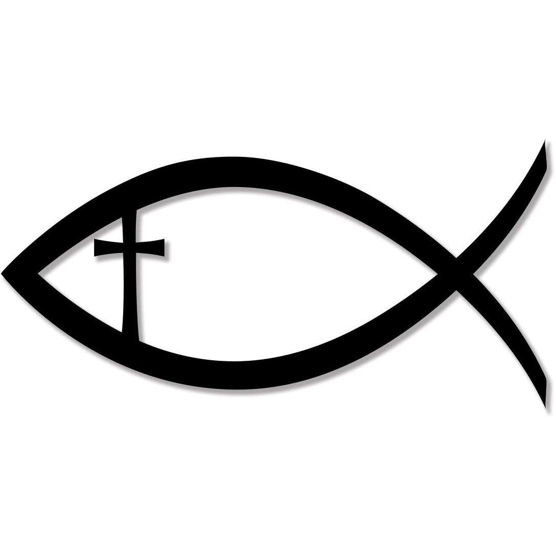 Christian Fish Jesus Christ Cross Faith Religion bumper sticker.