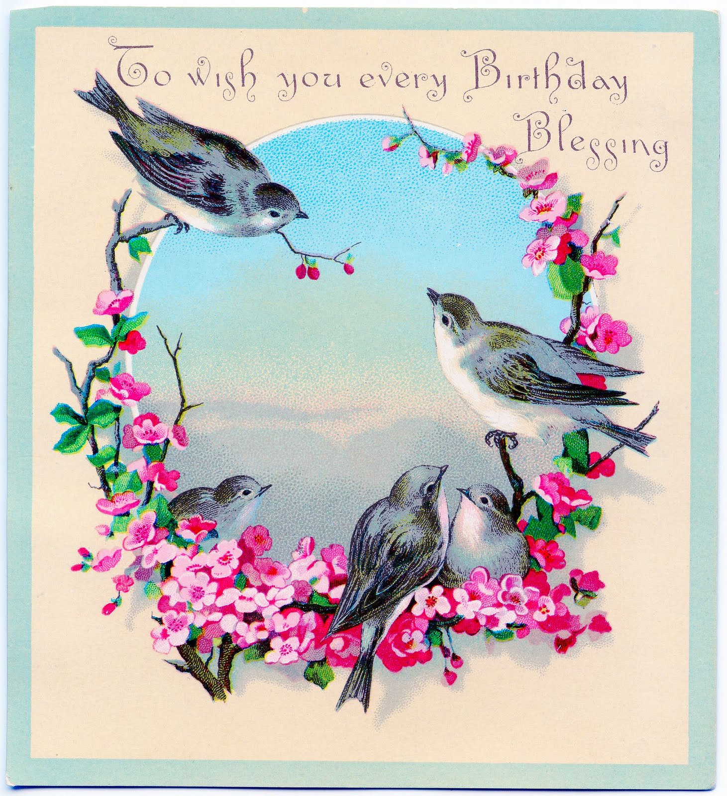 Vintage Cousin Birthday Clipart.