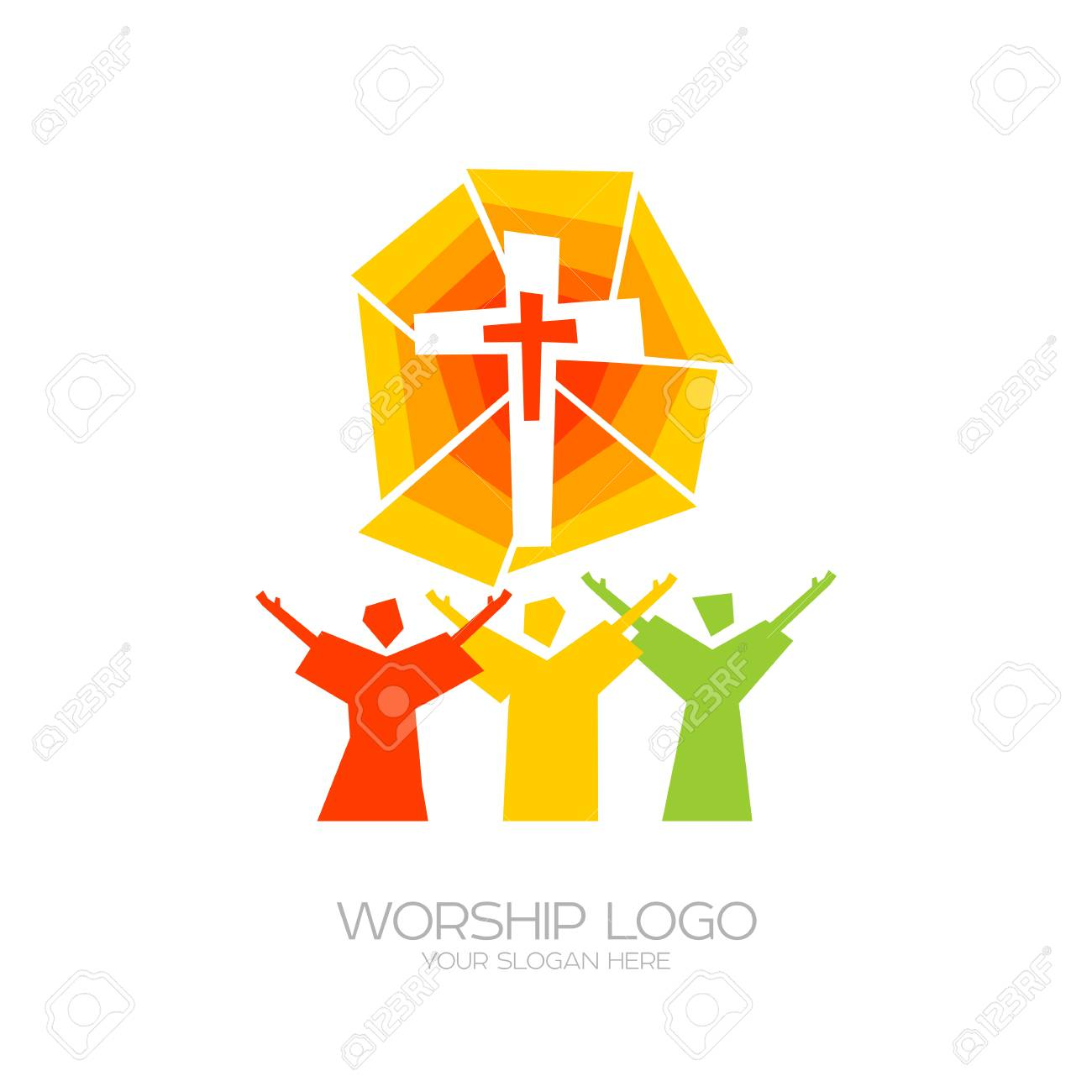 Worship icon. Christian symbols. People worship Jesus Christ.