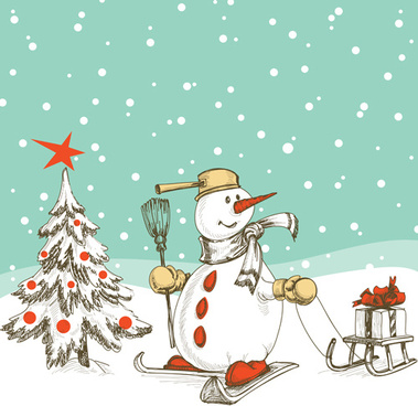 Snowman christmas background clipart free vector download (54,668.