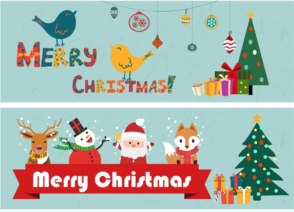 Christmas banners classical design and symbol elements Free.