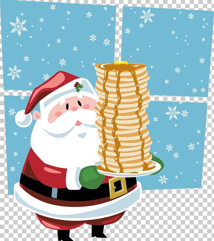 Breakfast Pancake Santa Claus Scrambled Eggs Brunch PNG, Clipart.