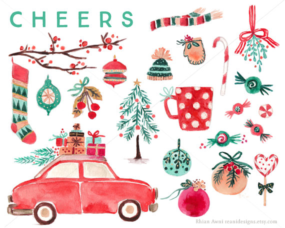 Watercolor Christmas Clip Art for personal and commercial use.