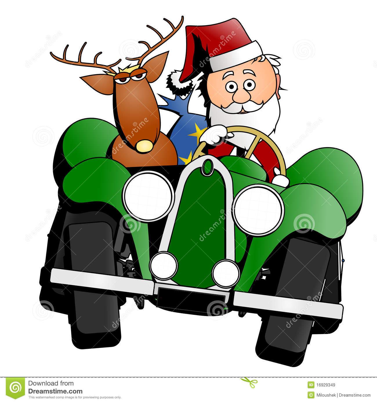 Santa Christmas Car Royalty Free Stock Images.
