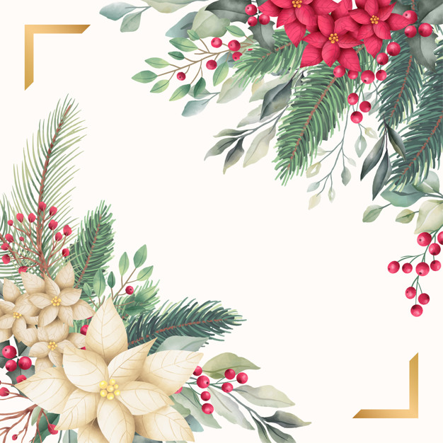 Golden christmas card template with watercolor nature Vector.
