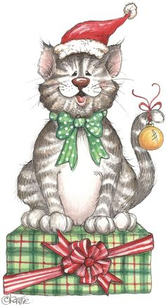 Clipart christmas cats.