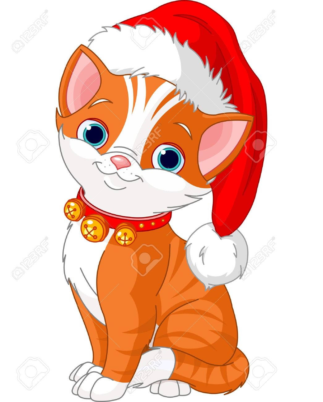 Christmas Cat Santa Hat Stock Photos & Pictures. Royalty Free.