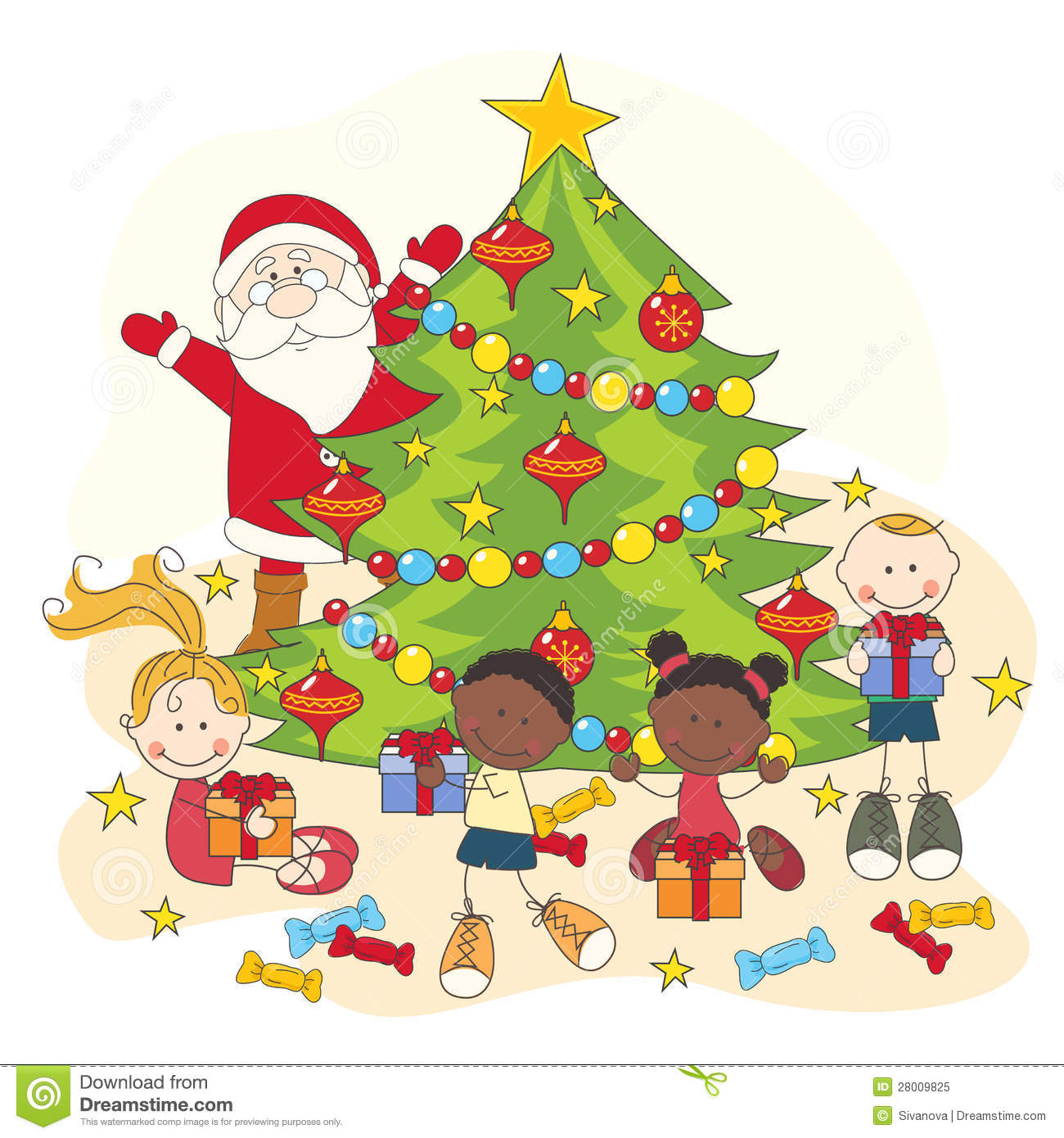 Christmas Celebration. Santa And Children Stock Vector.