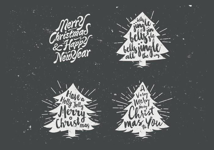 Chalkboard Christmas Tree Collection Vector.