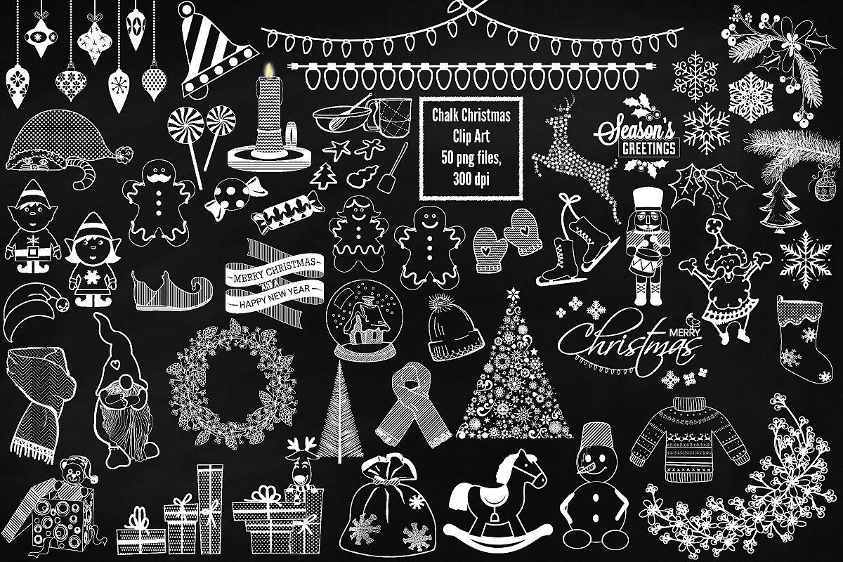 Chalkboard Christmas Clip Art.