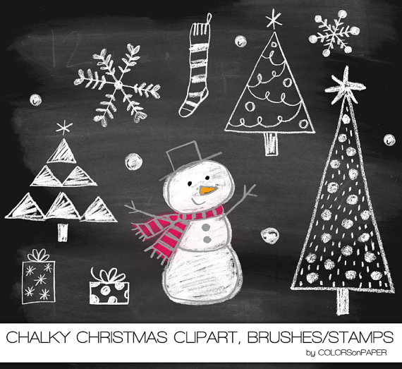 Chalk hand drawn snowman, trees and more. Digital clipart.