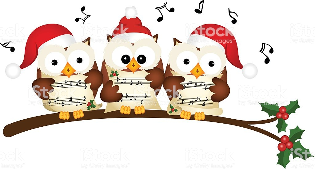 Christmas Owls Choir Singing Stock Illustration.