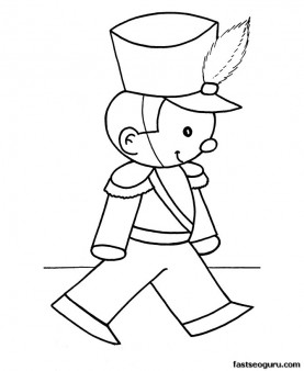 Free Christmas Coloring Pages toy soldier.