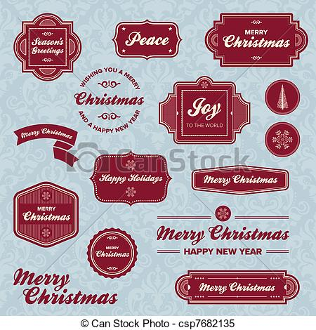 Clipart Vector of Christmas holiday labels.