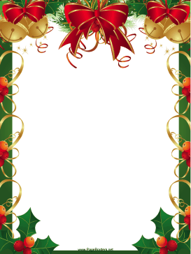 This free, printable Christmas border features festive red ribbons.