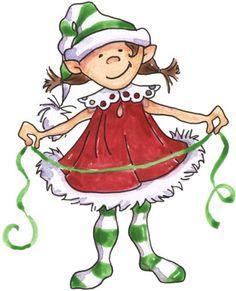 Funny Christmas Elves Clipart.