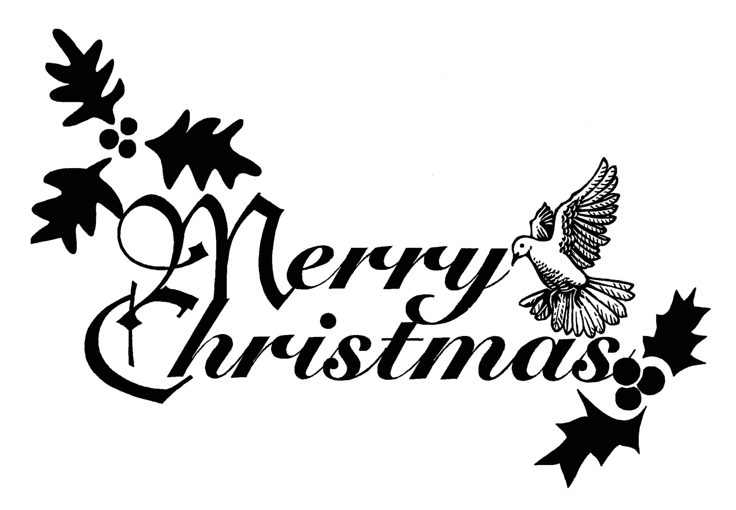 Free Christmas Clipart Flowers Black And White.