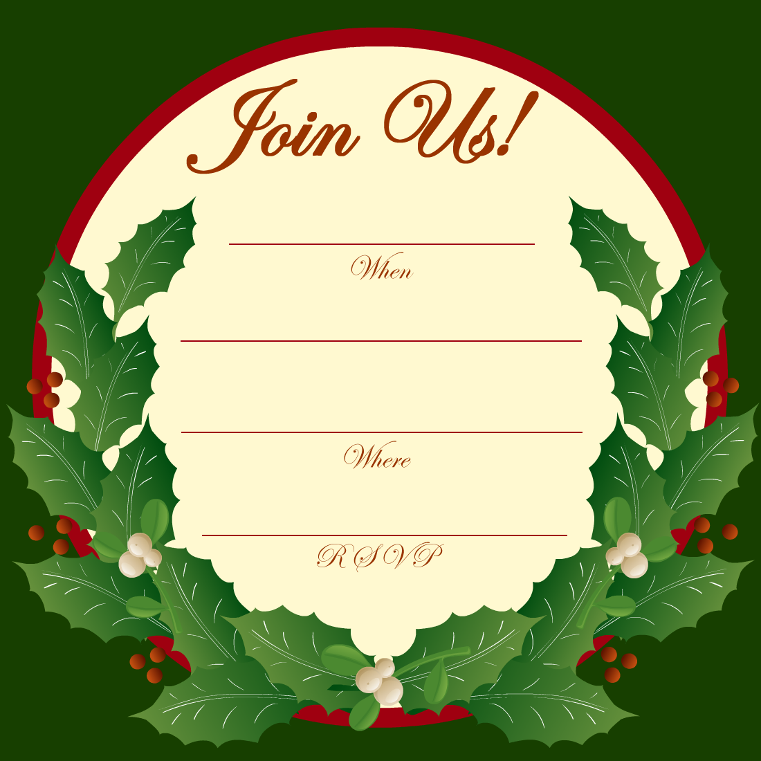 Holiday Clipart For Invitations.