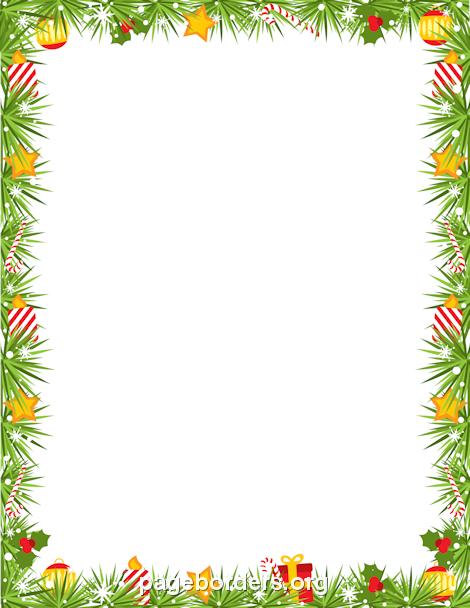 Printable Christmas garland border. Use the border in Microsoft.