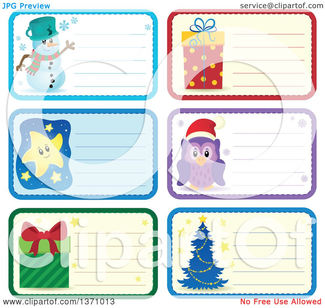Clipart of Christmas Gift or Name Tag Labels of a Snowman, Gifts.