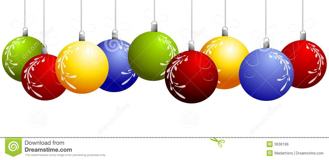 Hanging Christmas Ornament Border Clipart.