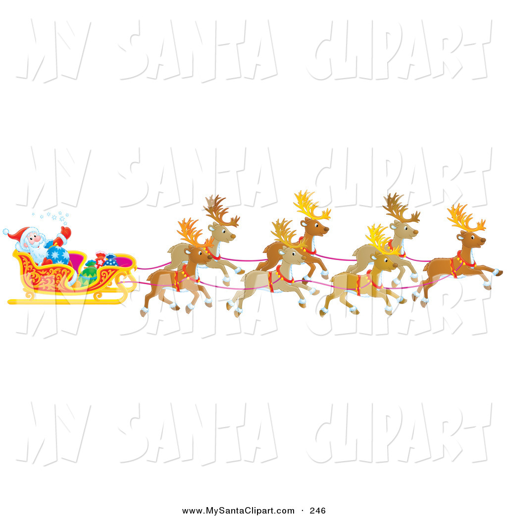 Similiar Christmas Santa Sleigh With Reindeer Clip Art Keywords.