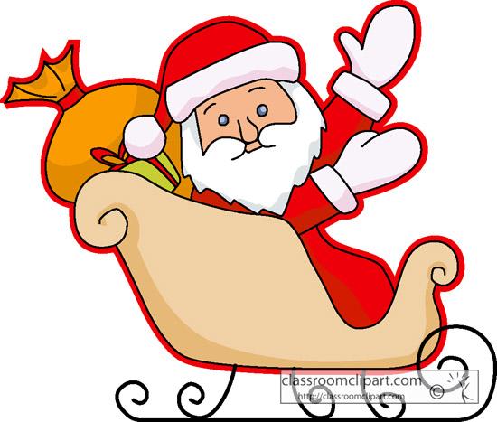 Free christmas clipart santa sleigh.