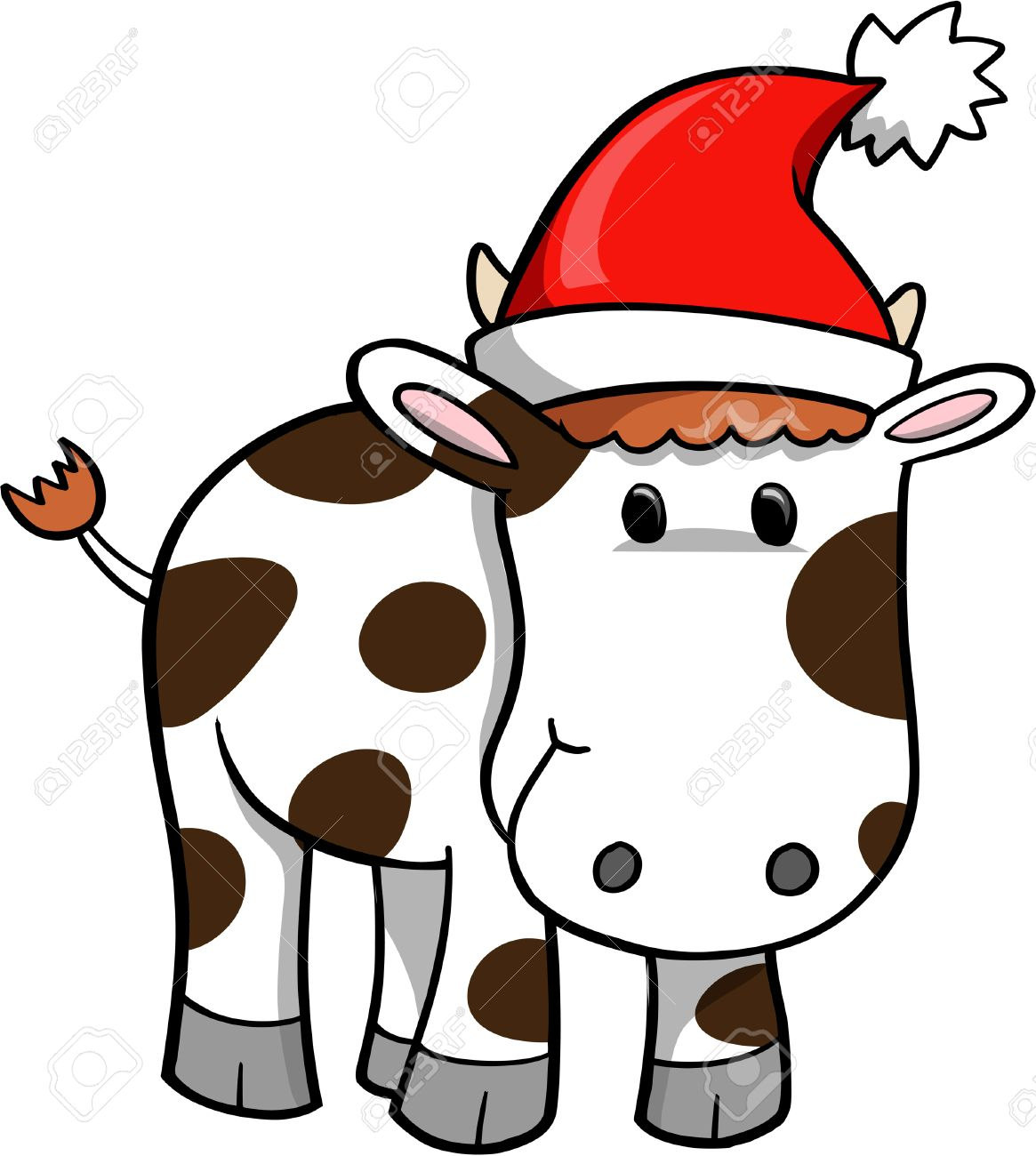 Christmas Holiday Cow Vector Illustration.