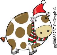 Christmas Cow Clip Art.