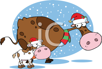 Royalty Free Clipart Image of a Christmas Cow and Calf.