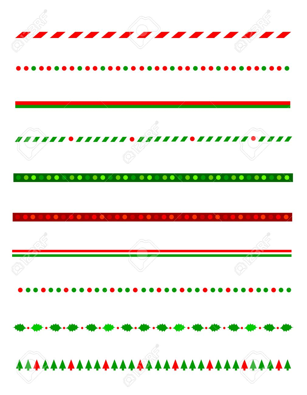 Collection of simple christmas themed borders / divider graphics...