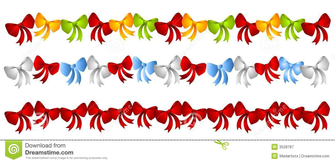 Rows Colorful Christmas Bows Stock Illustration.