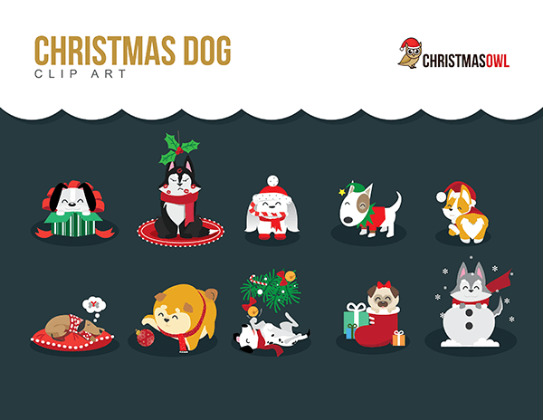 Free Christmas Dog Clip Art.