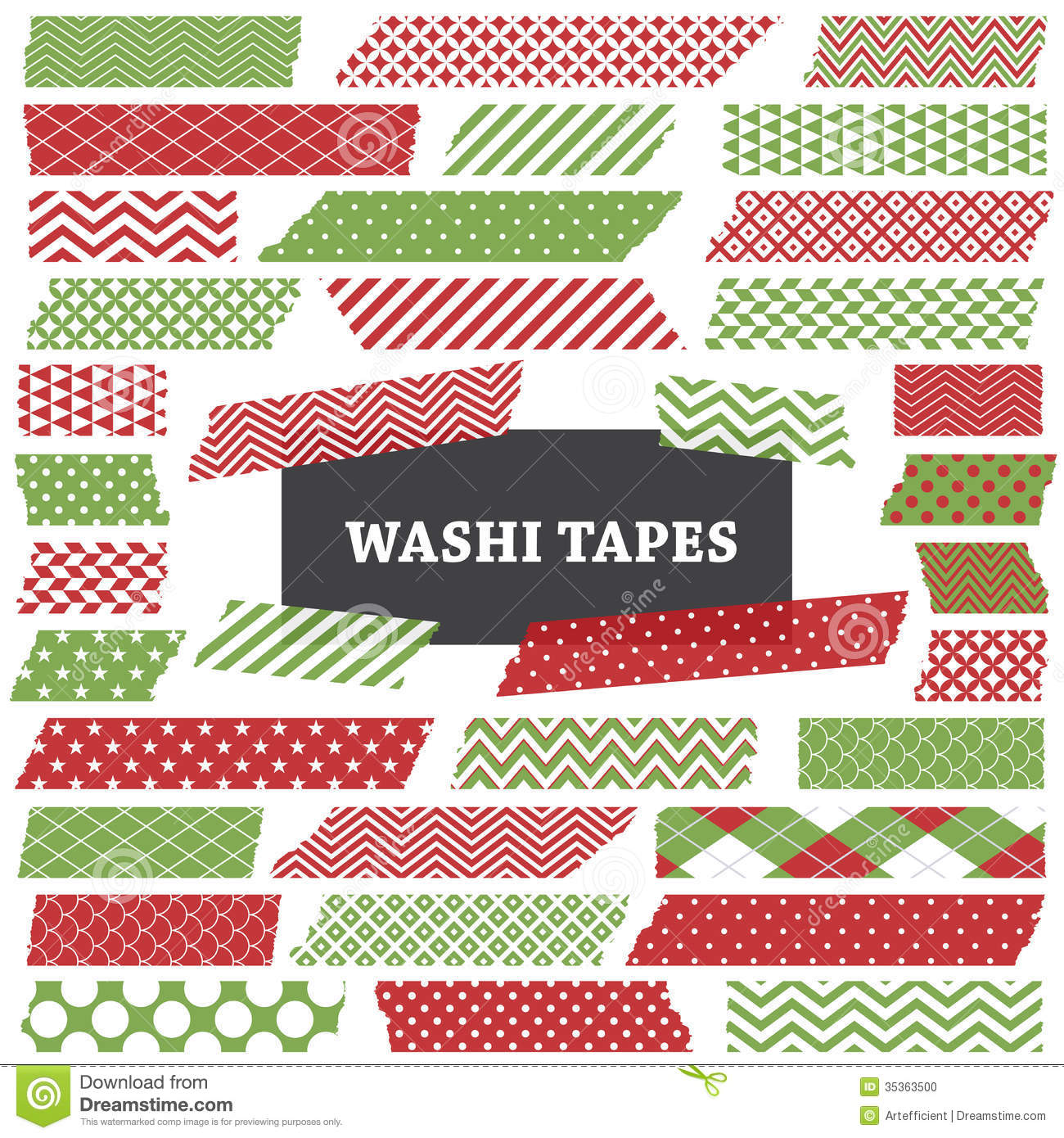 Christmas Red And Green Washi Tape Strips Clip Art Stock Photo.