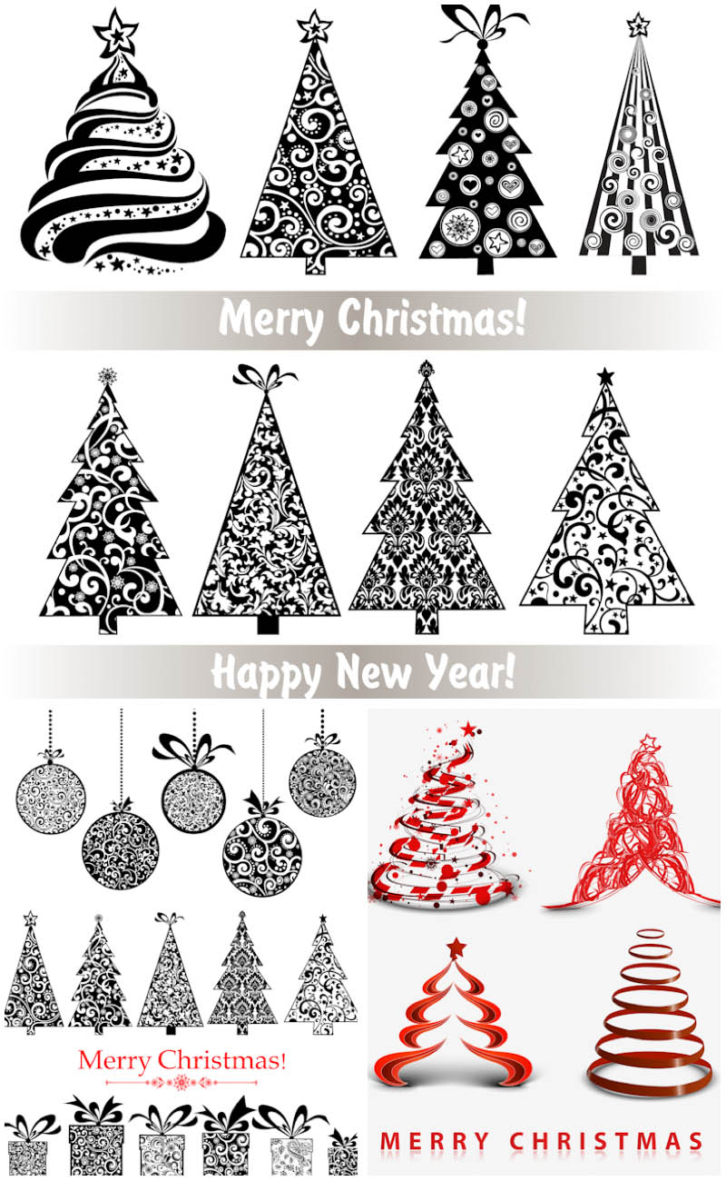 3 Sets of 28 vector ornate stylized Christmas trees with floral.