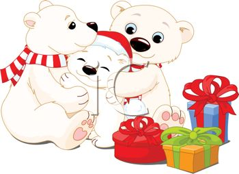 Christmas Family Bears Clipart.