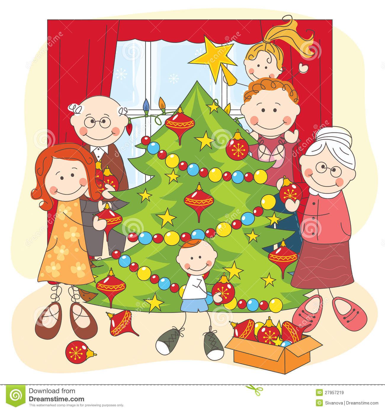 The Big Happy Family Dress Up A Christmas Tree Royalty Free Stock.