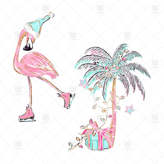 Christmas Flamingo Clipart.