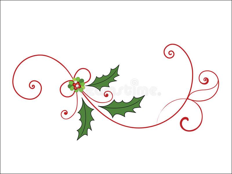 Red Cardinals And Christmas Flourish Stock Vector.