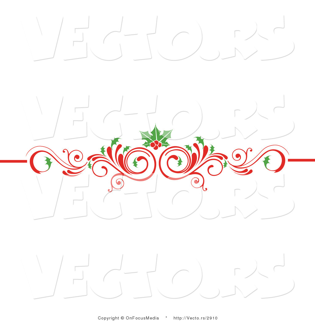 Vector of Christmas Scrolled Red Flourish Vine with Holly Leaves and.