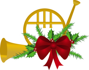 Free Christmas French Horn Clipart.