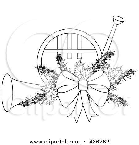 Free Christmas French Horn Clipart